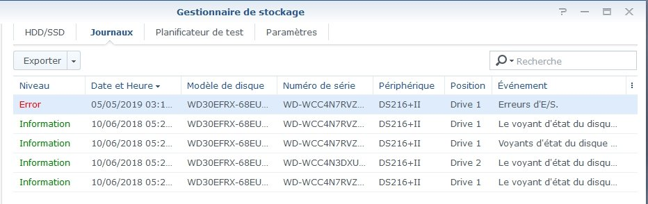 Synology ES hdd 1 - Synology : Remplacer un disque défectueux