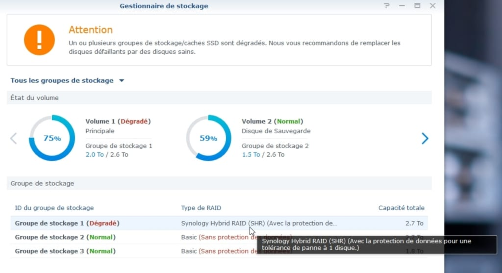 Synology ES hdd 11 - Synology : Remplacer un disque défectueux