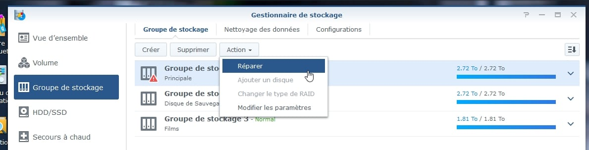 Synology ES hdd 12 - Synology : Remplacer un disque défectueux