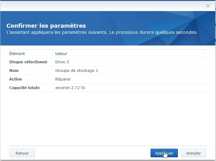 Synology ES hdd 15 - Synology : Remplacer un disque défectueux