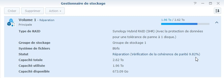Synology ES hdd 16 - Synology : Remplacer un disque défectueux