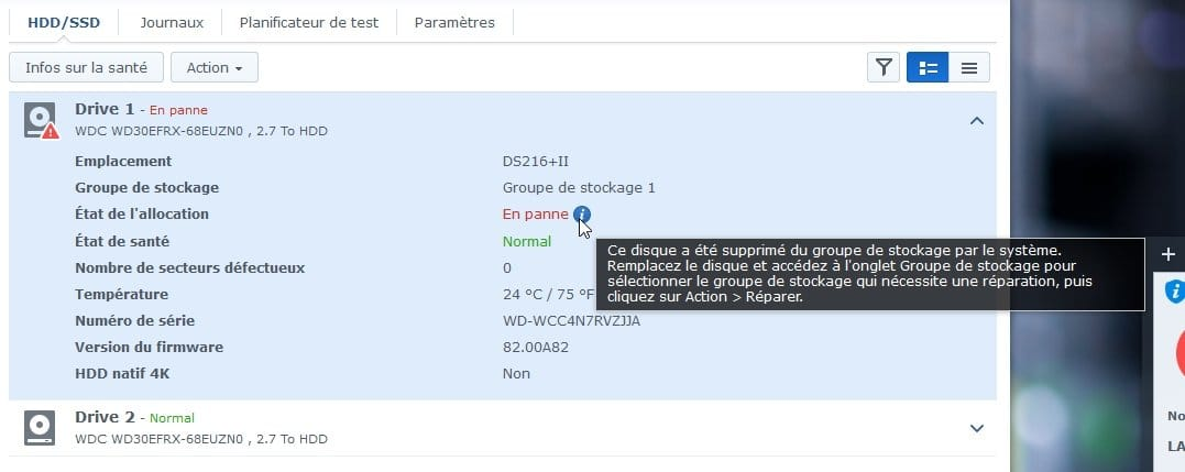 Synology ES hdd 2 - Synology : Remplacer un disque défectueux