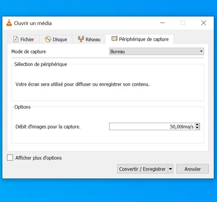 CaptureVLC2 - Enregistrer son écran (bureau) avec VLC