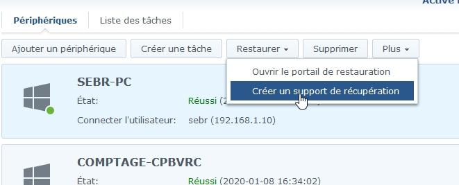 Synology active back resto 3 - [Tuto] Synology Active Backup – Sauvegarder intégralement votre PC, Serveur, VM (Partie 2 Restauration)