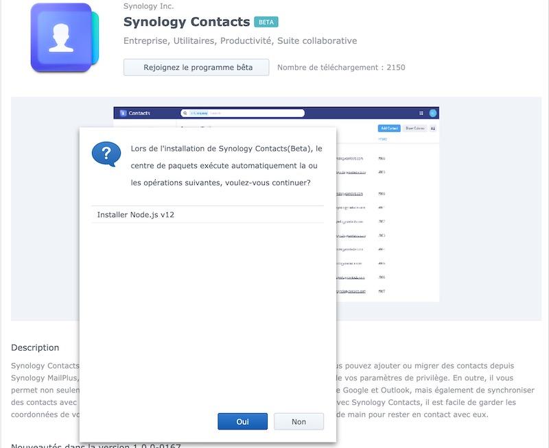 node - Synology Contacts 1.0 Bêta... en attendant DSM 7