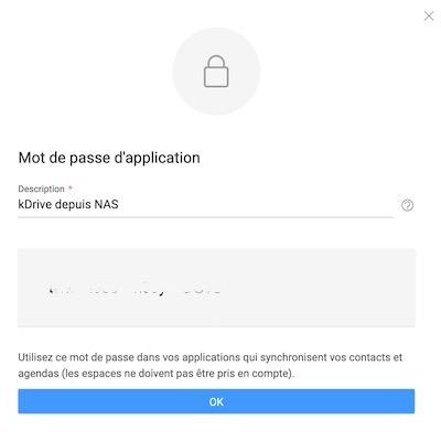 Mot passe application - Sauvegarder et synchroniser son NAS QNAP avec kDrive