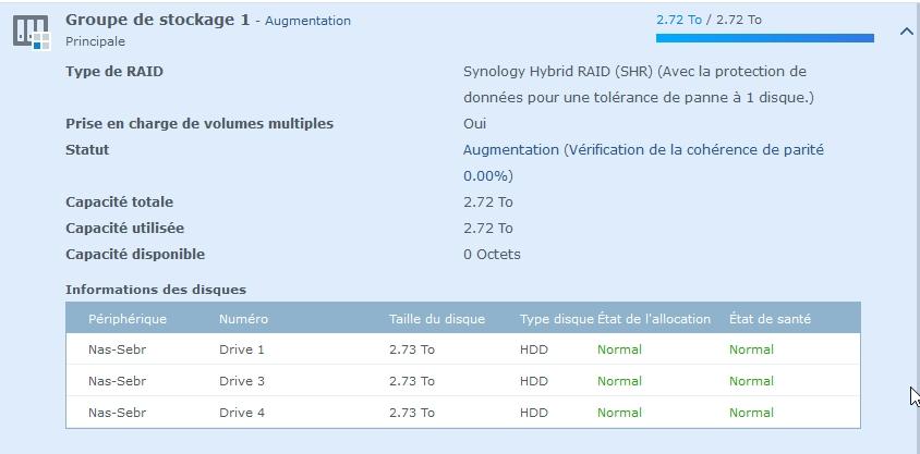 Syno Augmentation raid 6 - Synology - Augmenter l'espace de stockage RAID
