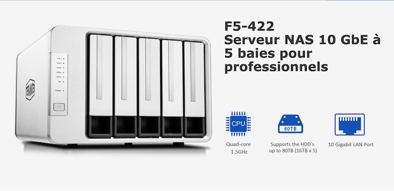 TerraMaster F5 422 - TerraMaster annonce le F5-422, un NAS 5 baies 10 Gbit/s