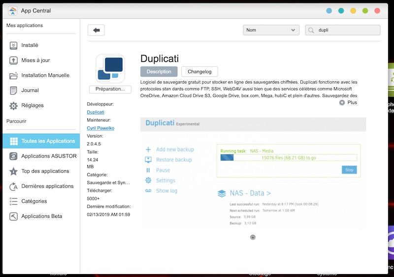 installation duplicati - Sauvegarde avec Duplicati et kDrive (Asustor)
