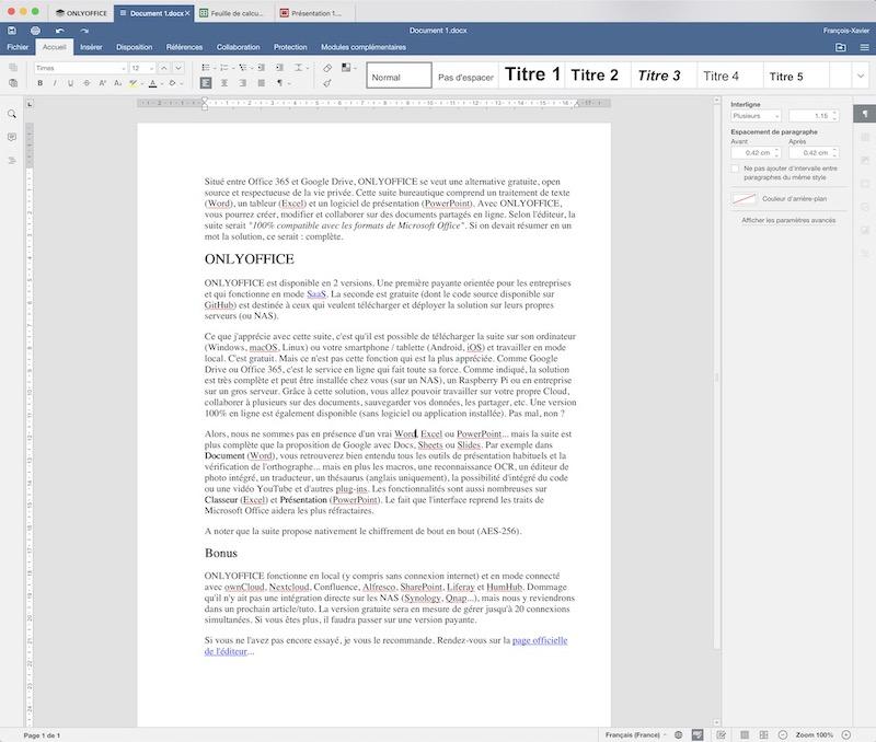 onlyoffice document - ONLYOFFICE, la suite bureautique gratuite dont tout le monde parle
