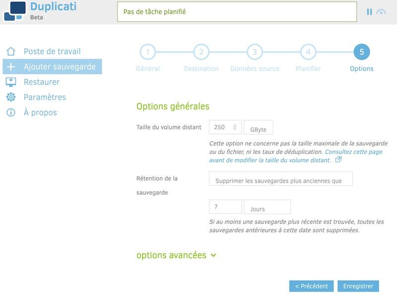 options sauvegarde - Sauvegarde avec Duplicati et kDrive (Asustor)
