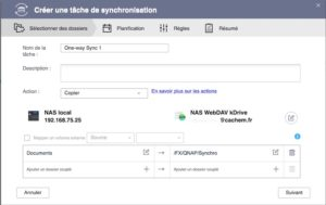 tache synchro webdav 300x189 - Sauvegarder et synchroniser son NAS QNAP avec kDrive