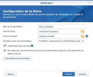 tache CloudSync kDrive 300x249 - Sauvegarder et synchroniser son NAS Synology avec kDrive
