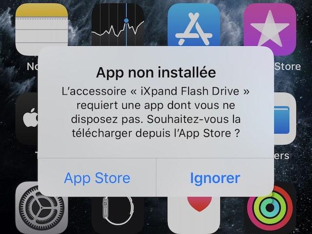 app non installee - SanDisk iXpand Drive Go pour iPhone et iPad
