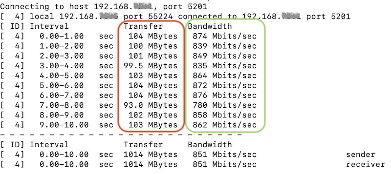 transfer bandwidth - iPerf et routeur Synology