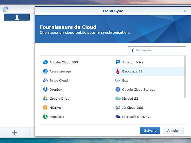 cloudsync choix founrisseur - Backblaze et NAS Synology / QNAP...