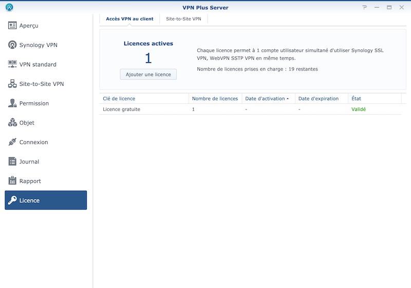licence VPN Plus - Synology offre des licences VPN Plus et Site-to-Site VPN