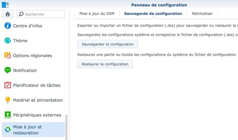 sauvegarde configuration - NAS – Ma configuration logicielle Synology DS918+ (partie 2)