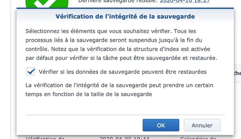 verification intergrite sauvegarde - NAS – Ma configuration logicielle Synology DS918+ (partie 2)