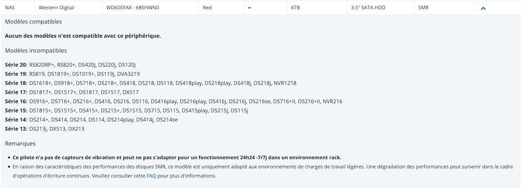 WD RED SRM - Disques durs SMR : Synology les considère comme incompatibles avec ses NAS