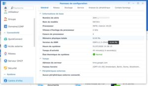 panneau config 300x175 - NAS - RAM alternatives et Synology DS220+, DS720+, DS420+ et DS920+