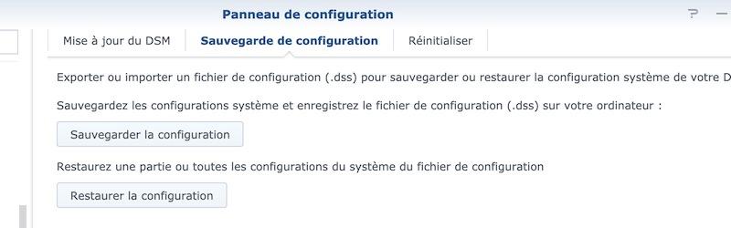 sauvegarde configuration synology - Synology - Réinstaller DSM sans perdre les données du NAS