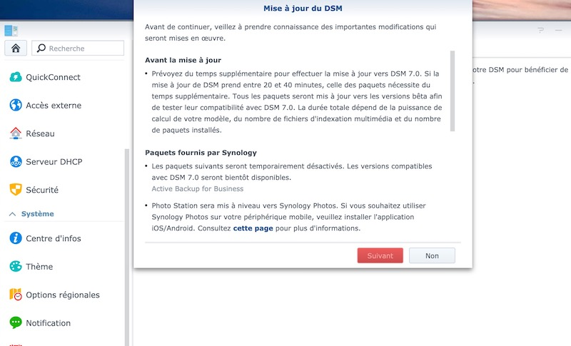 01 avertissement mise a jour - Synology DSM 7.0 : aperçu de l'interface et des nouvelles fonctionnalités