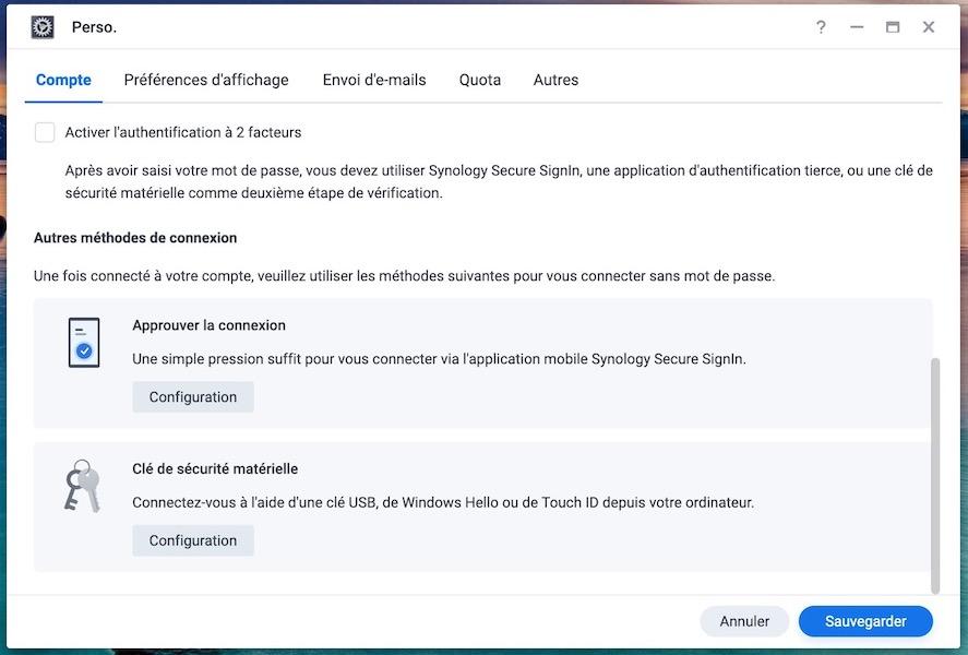 nouvelles methodes authentification synology - Synology DSM 7.0 : aperçu de l'interface et des nouvelles fonctionnalités