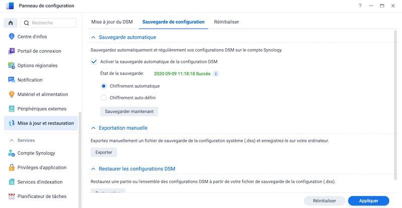 sauvegarde configuration 7 - Synology DSM 7.0 : aperçu de l'interface et des nouvelles fonctionnalités