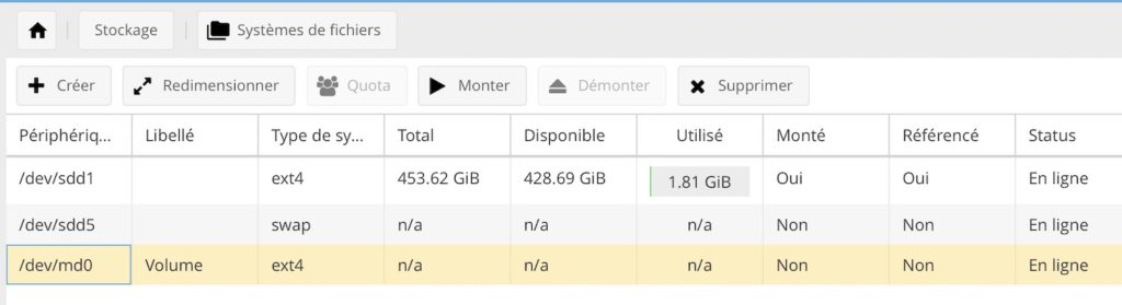 volume stockage 1024x279 - NAS - openmediavault (Tuto et prise en main)