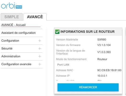 menu avance orbi pro - Test du kit Netgear Orbi Pro Wi-Fi 6