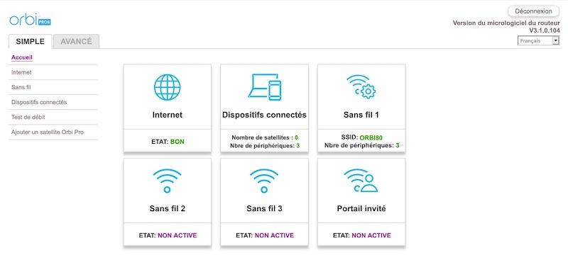 menu orbi pro wifi 6 - Test du kit Netgear Orbi Pro Wi-Fi 6