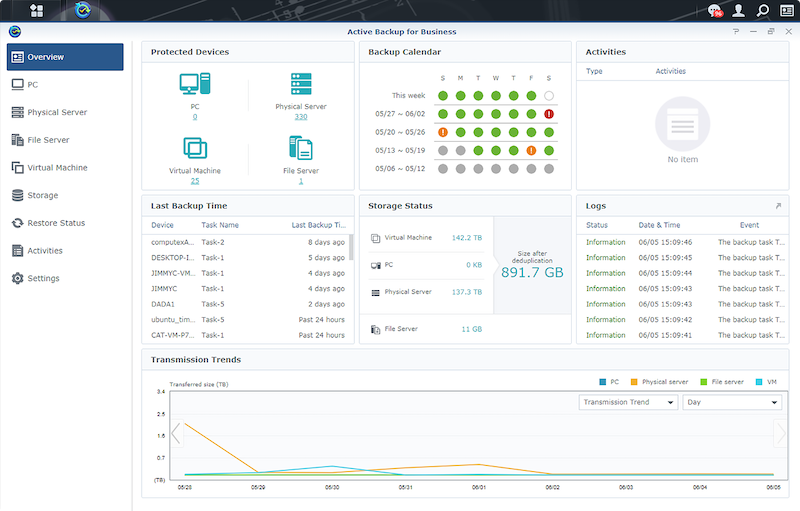 Active Backup for Business - Synology 2021 : DSM 7.0 Bêta, AMD, Bare Metal, Active Insight, C2 Directory...
