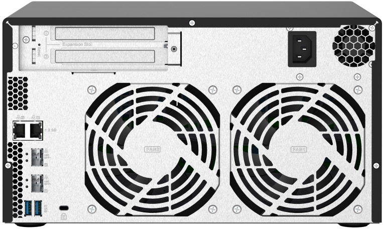 QNAP TS 832PX arriere - QNAP TS-832PX : NAS 8 baies, processeur Quad Core, réseaux 2,5 Gbit/s et 10 Gbit/s