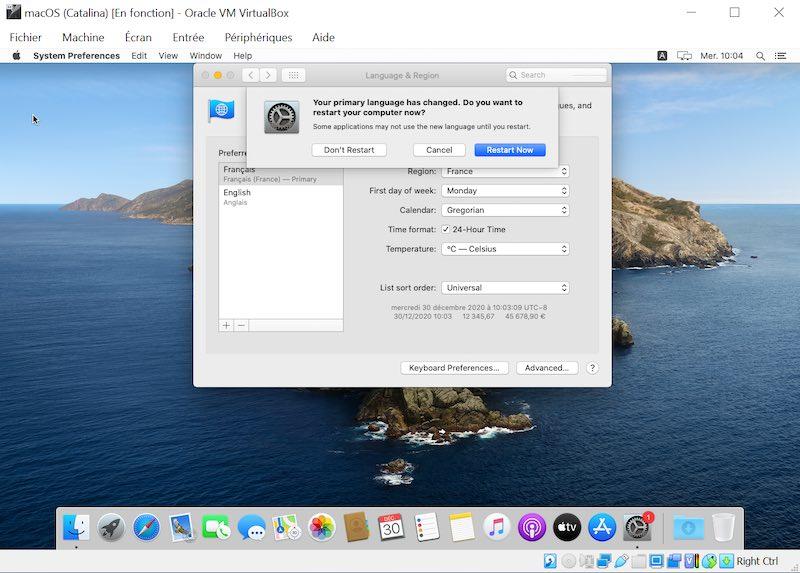 changement langue 03 - VirtualBox - macOS Big Sur sur votre PC Windows