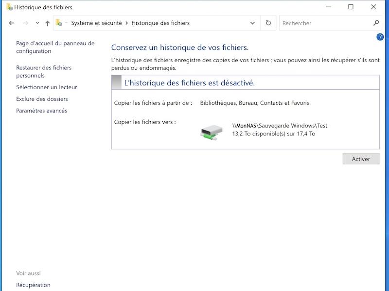 activer historique Fichiers 2021 - Historique des fichiers Windows sur un NAS Synology, QNAP...