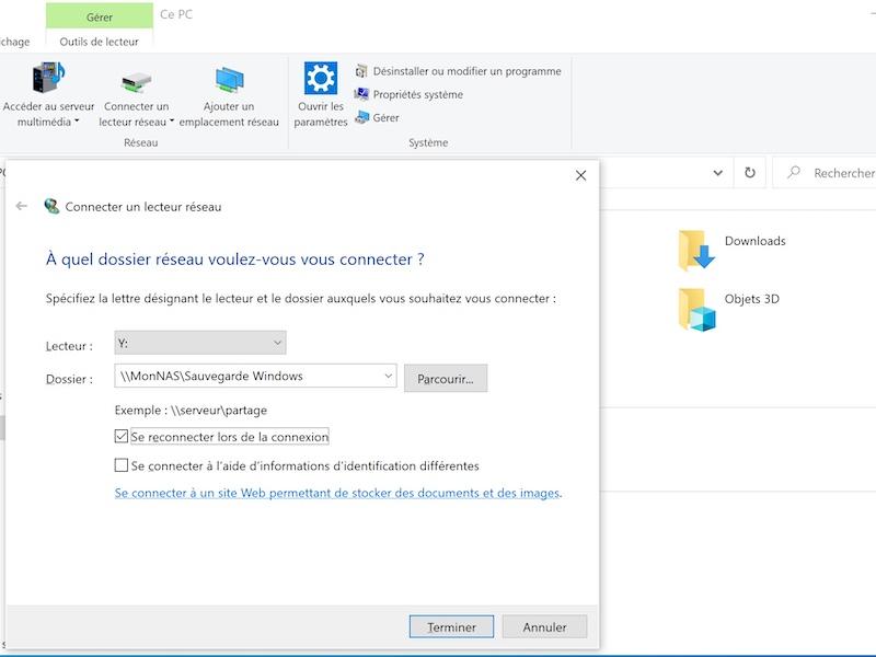 connecter lecteur reseau windows10 - Historique des fichiers Windows sur un NAS Synology, QNAP...