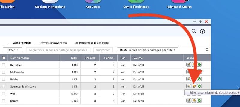 editer permissions - Sauvegarder une image système de Windows sur un NAS Synology, QNAP... (Ghost)