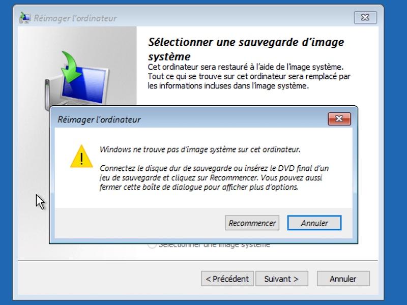 erreur image systeme 2021 - Sauvegarder une image système de Windows sur un NAS Synology, QNAP... (Ghost)