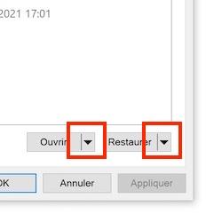 fleches bouton - Historique des fichiers Windows sur un NAS Synology, QNAP...