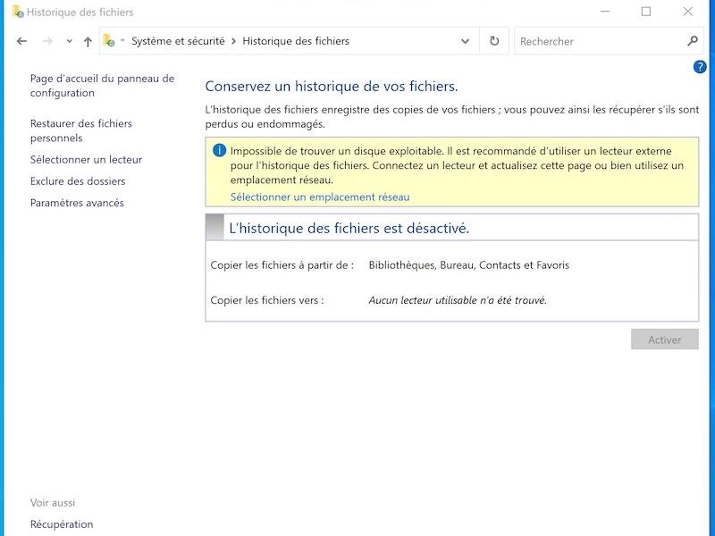 historique fichiers - Historique des fichiers Windows sur un NAS Synology, QNAP...