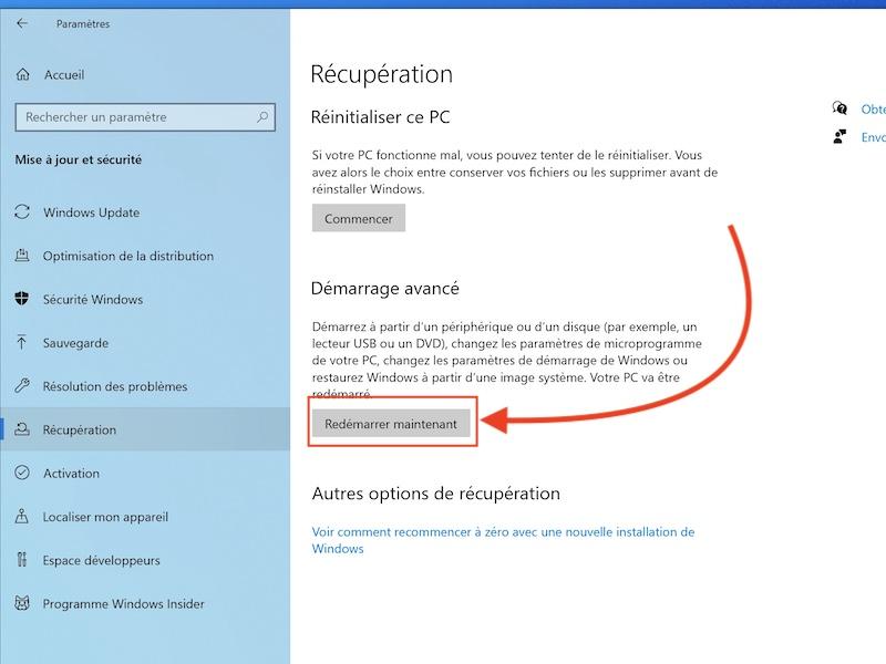redemarrer restaurer win10 - Sauvegarder une image système de Windows sur un NAS Synology, QNAP... (Ghost)