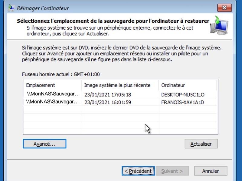 selection reimager PC 2021 - Sauvegarder une image système de Windows sur un NAS Synology, QNAP... (Ghost)