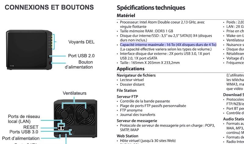 Capture feuille ds412 - NAS Synology et capacité des disques durs
