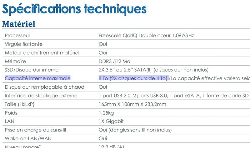 Capture fiche DS213 - NAS Synology et capacité des disques durs