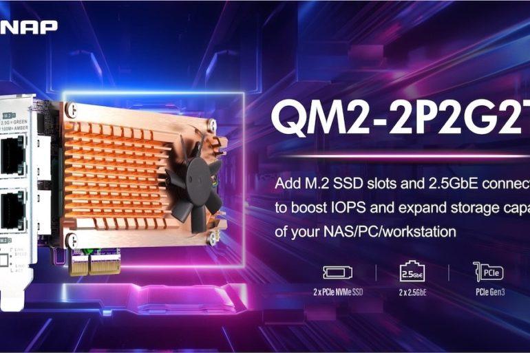 QNAP QM2 2P2G2T 2021 770x513 - QNAP QM2-2P2G2T : Carte réseau 2.5GbE avec emplacements SSD M.2