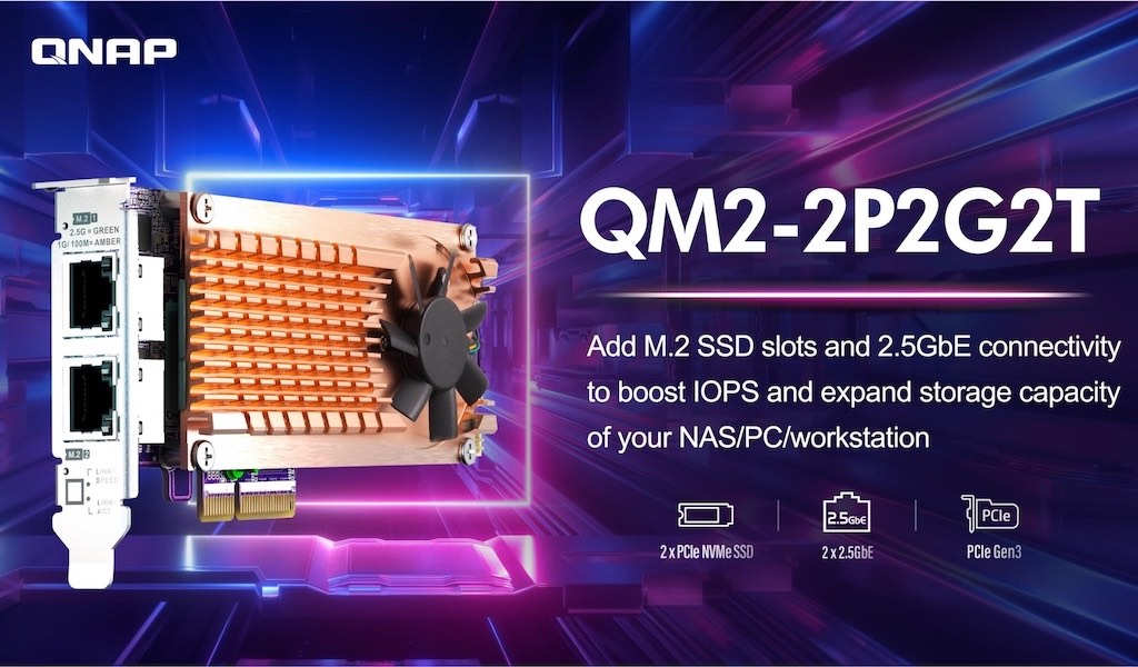 QNAP QM2 2P2G2T 2021 - QNAP QM2-2P2G2T : Carte réseau 2.5GbE avec emplacements SSD M.2