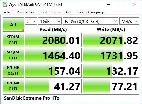SanDiesk Extreme Pro - Test SanDisk Extreme Pro Portable SSD 1 To (2e génération)