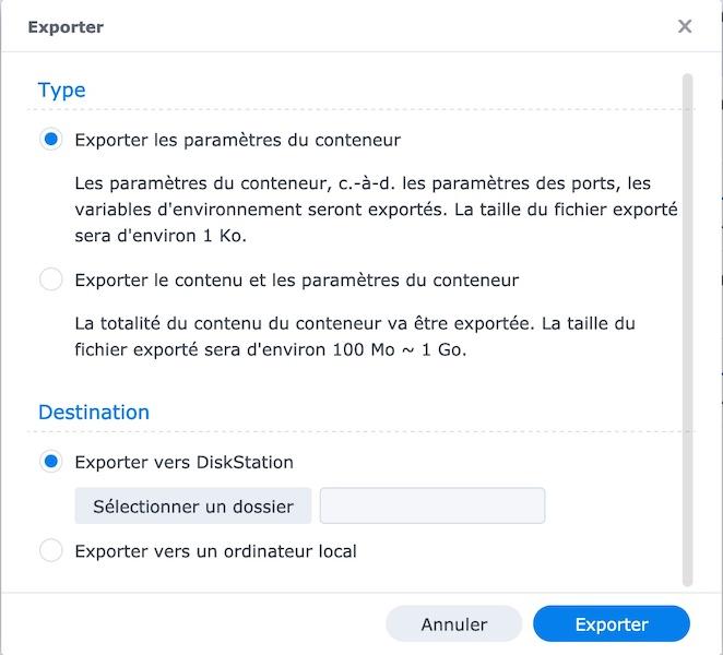 exporter configuration conteneur - Vaultwarden remplace Bitwarden_RS  (docker / Synology)