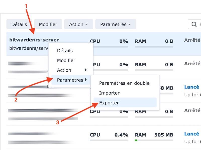 exporter configuration docker - Vaultwarden remplace Bitwarden_RS  (docker / Synology)